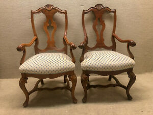 Details about Pair of Walnut Italian Dining Room Chairs Newly Upholstered &  Restored