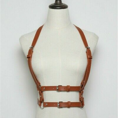 Women/'s PU Leather Body Harness Adjustable Strap Waist Belt Vest Corset Vintage