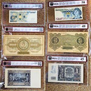 Billets-Polonais-20-1000-10000zl-GRANDING