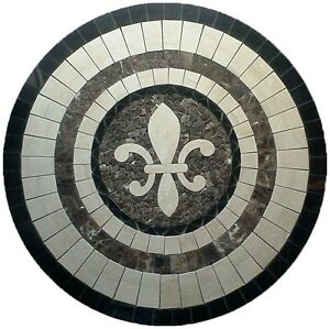 Floor marble medallion round fleur de lis travertine tile mosaic 48 ...