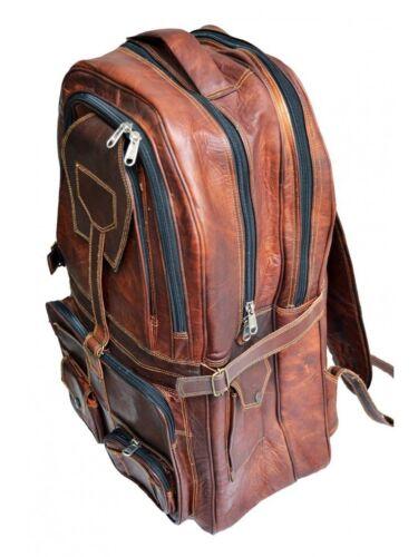"""22/"""" genuine men/'s leather backpack bag satchel briefcase laptop brown vintage"""