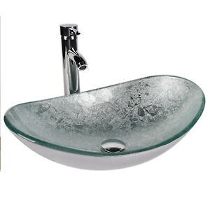 Bathroom Artistic Vessel Sink Tempered Glass Faucet Chrome Pop Up Drain Silver Ebay