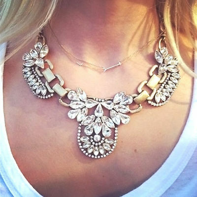 New Fashion Crystal Cluster Pendant Chain Bib Statement Necklace Choker Chunky