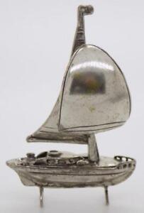 Vintage-Plata-Maciza-Italiano-Hecho-Navegacion-Navio-Miniature-Sellados-Figurita