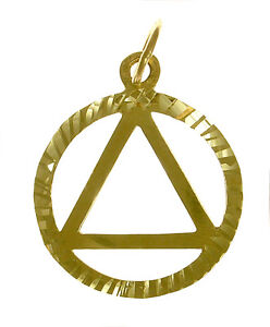 14k Gold AA Alcoholics Anonymous Lightweight Sparkle Pendant Size #10-1 Med