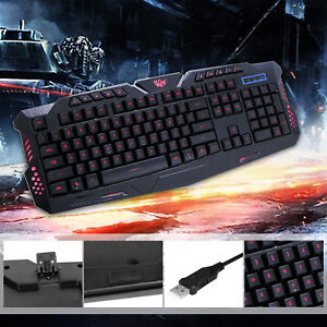 Details about 3 Color Backlit Gaming USB Wired Keyboard Multimedia  Illuminated LED Backlight