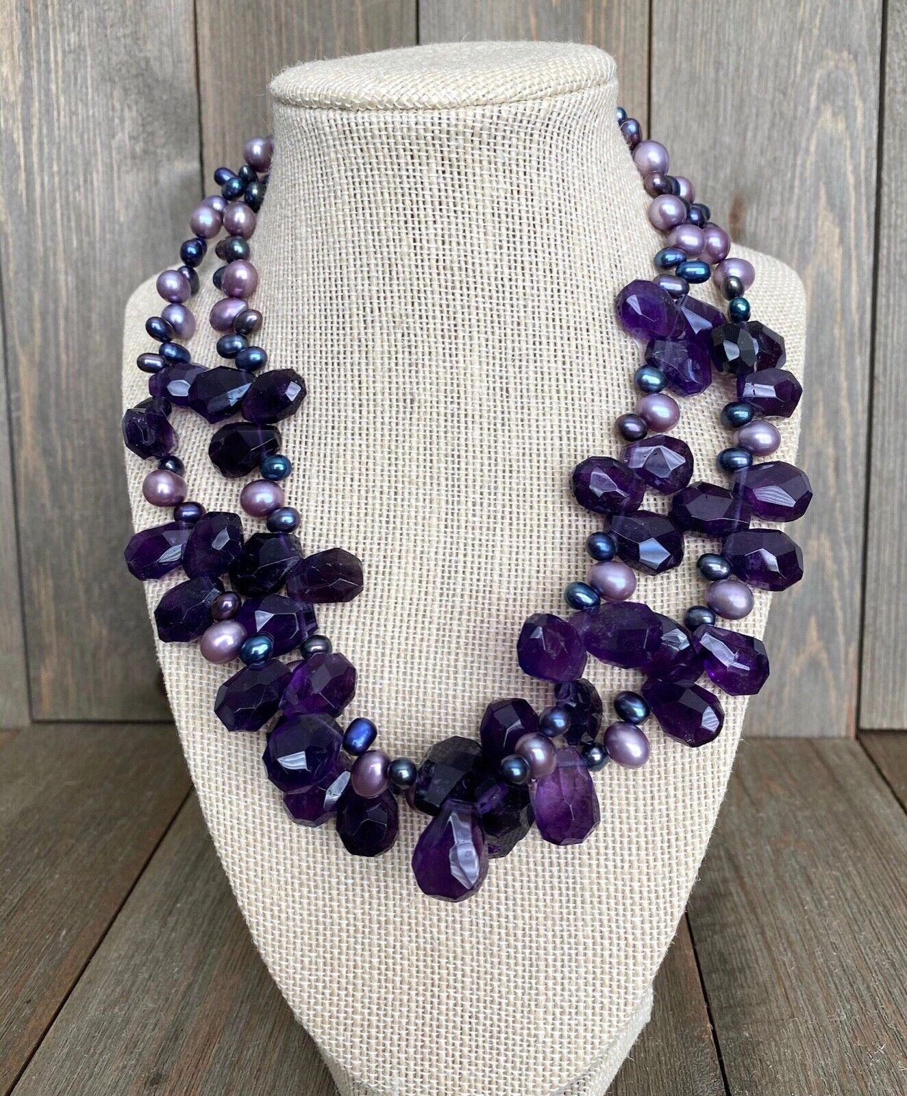 Necklace Amethyst Pearls Cluster Diana Venezia Ra… - image 6