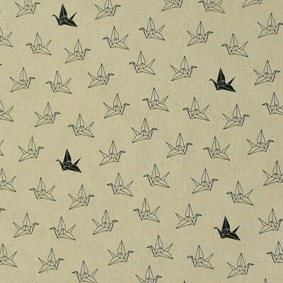 Dekostoff natur Origami Vogel Kranich schwarz