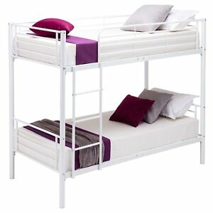 White-Metal-Bunk-Bed-Frame-2-3FT-Single-Kids-Children-Twins-Sleeper-No-Mattress