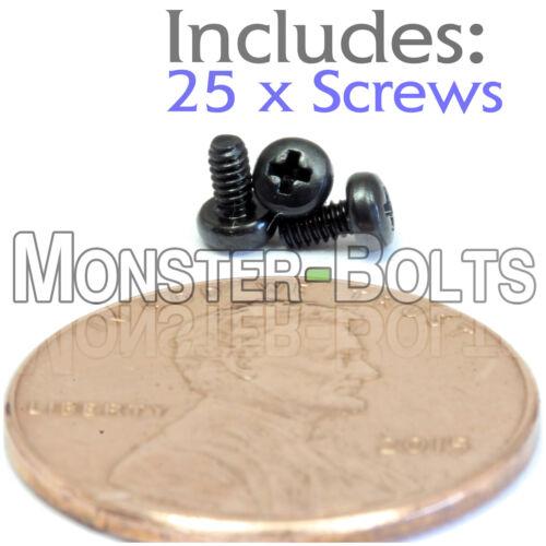 Qty 25 M1.6 x 3mm Phillips Pan Head Machine Screws DIN 7985 A  Black Steel