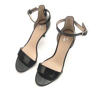 BP-Womens-Ankle-Strap-Sandal-Heels-Size-5-5M-Black-Patent-Dress-Evening-Pumps