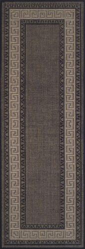 Greek Key Black Flatweave Anti-Dérapant Résistant Tapis en différentes tailles et RUNNER