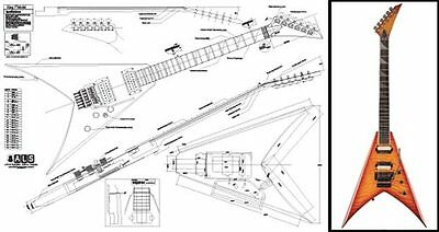 jackson king v electric guitar full-scale plan | ebay  ebay