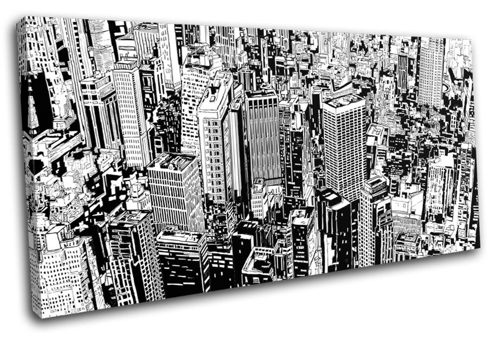 Cityscape Abstract Illustration SINGLE TOILE murale ART Photo Print