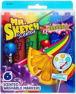 Set of 6 New Mr Chisel-Tip Sketch Scented Washable Markers