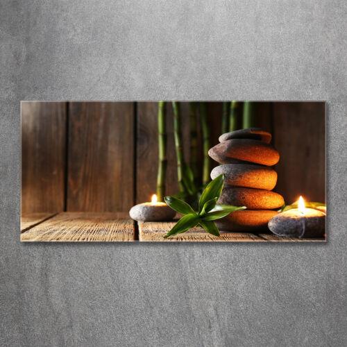Glas-Bild Wandbilder Druck auf Glas 120x60 Deko Kunst Zen Steine Bambus