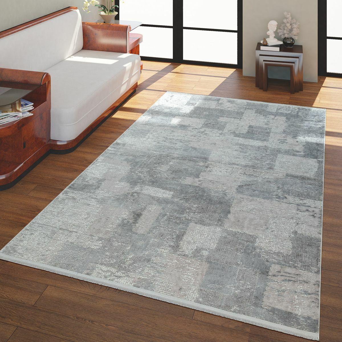 Kurzflor Wohnzimmer Teppich Seiden Optik 3-D Karo Muster Vintage Vintage Vintage Look In Grau 94132b