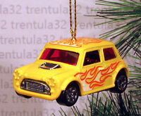 Morris Mini Cooper Yellow W Flames Christmas Ornament Xmas