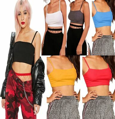 Women Ladies Ribbed Stretch Square Neck Cami Strappy Bodysuit Leotard Top 8-14