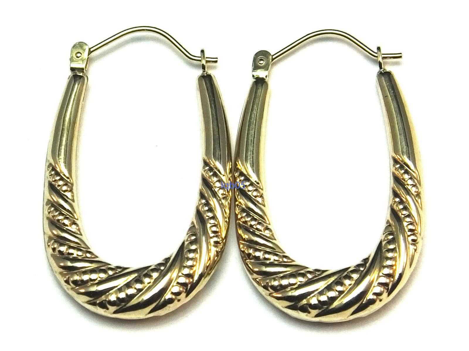 New Ladies 9ct Yellow gold Creoles Hoop Earrings 34mm Hallmarked