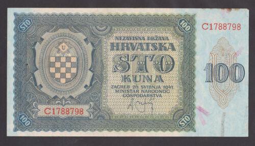 CROATIA 100 Kuna 1941 aUNC P2a WWII NDH USTASA - Single prefix C.
