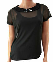 New Stylish Ladies Black Chiffon Top Blouse Stud Collar Size 6 8 10 12 14 16