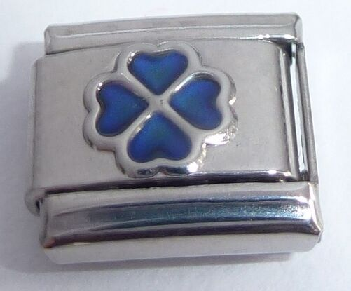 Lucky Clover SHAMROCK MOOD STONE 9mm Italian Charm - Changes Colour Good Luck