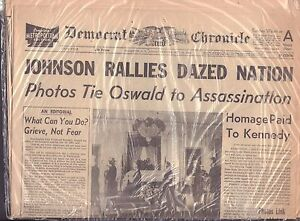 Democrat Chronicle NY November 1963 JOHNSON RALLIES DAZED NATION VG 062316DBE