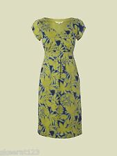 New White Stuff Lena Tropical Lime Green Navy Blue Summer Dress Size 10 SALE