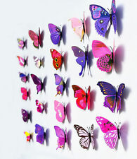 12 PCS DIY 3D Butterfly Wall Sticker Magnet Party Home Decor Art Decal #Purple