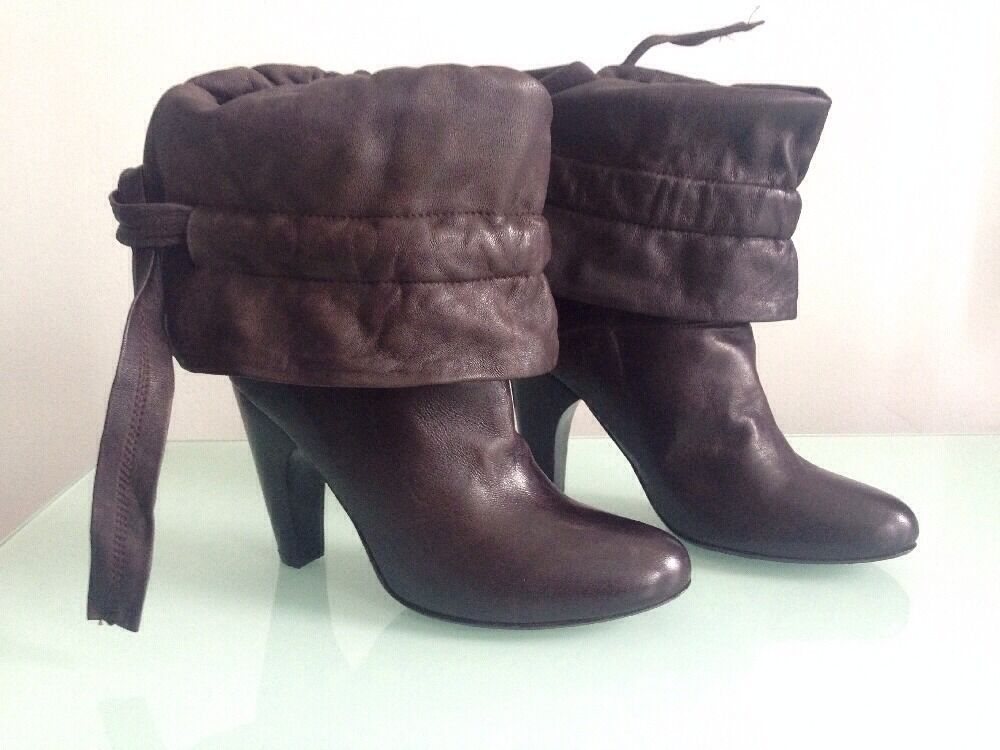 Only Hearts Brown Leather Slouchy Fold Over Boots, Size 39