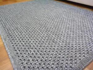 Flatweave Floor Area Rug Gest Plain Design Silver Grey