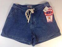 London Blues Jean Shorts Size 3 Blue Wash Cotton Ivory Tie Button Fly Pants