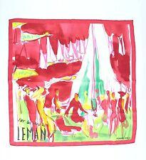 """Hermes Red Print """"Sur Les Rives du Leman"""" 100% Silk Scarf"""