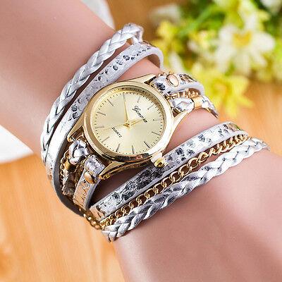 Fashion Womens Watch Wrap Around Bracelet Leather Chain Analog Quartz WristWatch