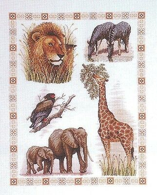 African Animals Sampler Counted Cross Stitch Kit Lion Zebra Giraffe Elephant