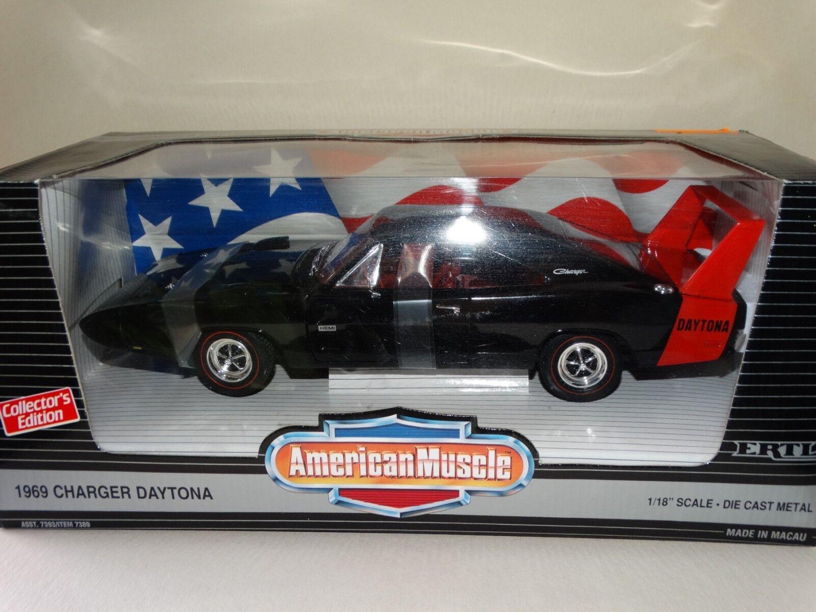 Ertl 1969 Dodge Charger Daytona Mopar 1 18 Scale Diecast American Muscle voiture Blk