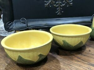 Vintage-Set-2-Original-Shawnee-Pottery-Corn-King-6-Mixing-Soup-Cereal-Bowls