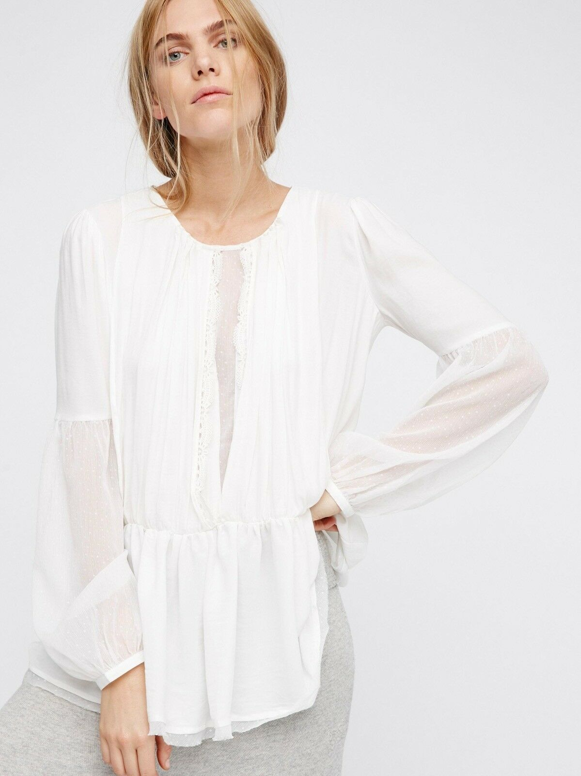 NWT Free People The Soul Serene Blouse Victorian Peplum Lace LS TOP Ivory M