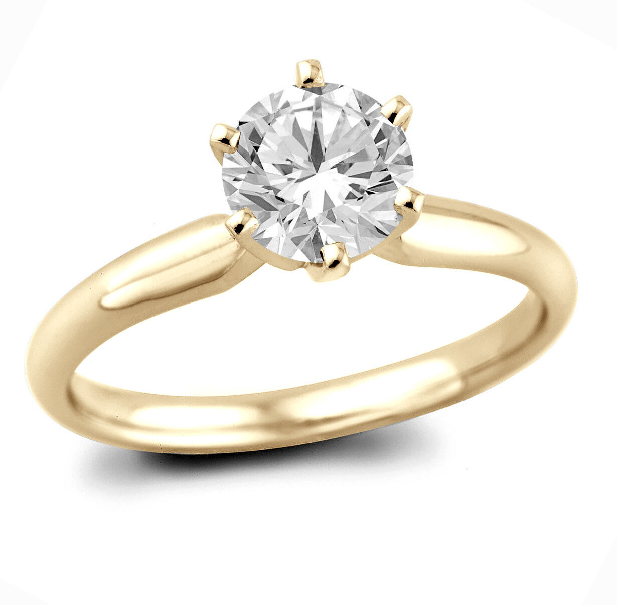 f6307153e0224 Natural Cut 0.74Ct G Round gold Yellow 14K Ring Engagement Solitaire ...