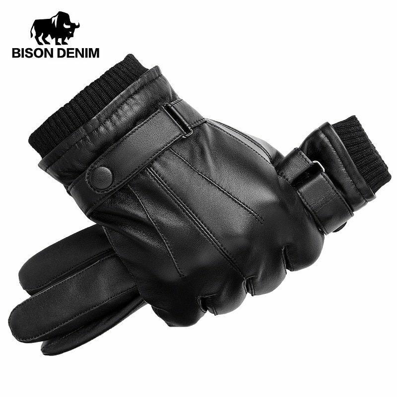 BISON DENIM Genuine Sheepskin Leather Men Gloves Autumn Winter Warm Touch Screen