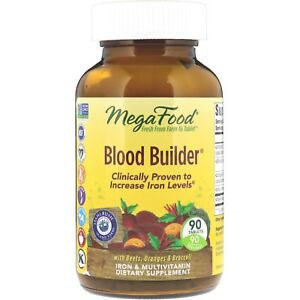 MegaFood BLOOD BUILDER 90 Tablets Dairy-Free, Kosher, Non-GMO #1 IRON SUPPLEMENT