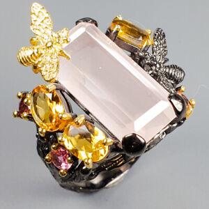 Handmade-uniuqe-Natural-Rose-Quartz-925-Sterling-Silver-Ring-Size-9-R118746