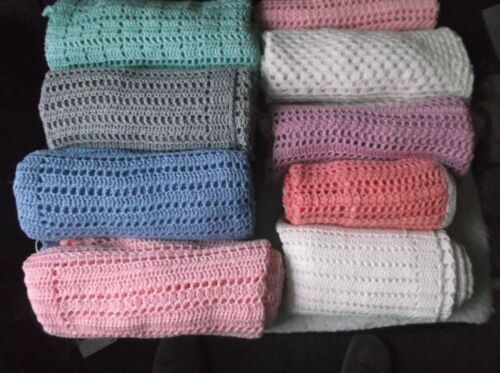 Cashmere Baby Cot Blankets Hand Crochet