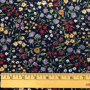 2-1-3-yds-Vtg-Calico-Cotton-Quilting-Fabric-Floral-Multicolor-on-Navy-Unbranded