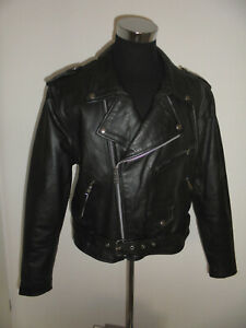 vintage-TECONE-Motorradjacke-Leder-Bikerjacke-US-leather-motorcycle-jacket-M-L
