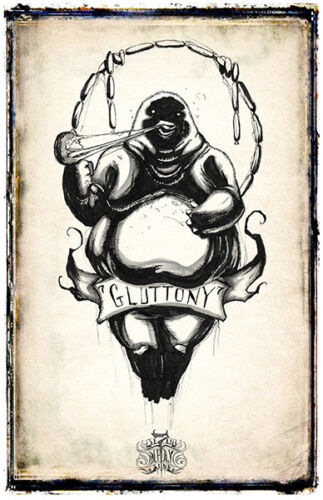 7 Deadly Sins Poster Shawn Coss Envy Gluttony Greed Lust Pride Sloth Wrath 11x17