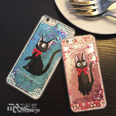 Cute  cartoon black cat bow Liquid Glitter Case cover for apple iphone 6 6S plus