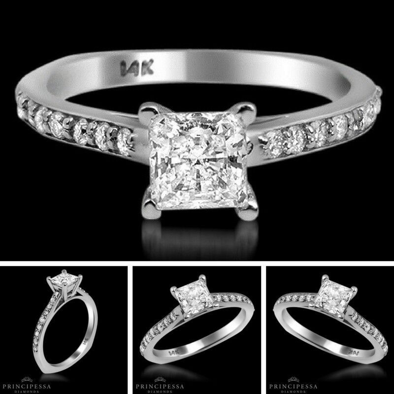 0.71 TCW Solitaire With Accent Princess Diamond Ring VS2 F Engagement Enhanced