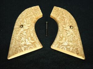Fleur De Lis Walnut Ruger New Vaquero XR3 Frame Grips Checker Engraved Textured